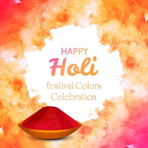 Glückliche Holi-Vektorillustration mit buntem Gulal vektor