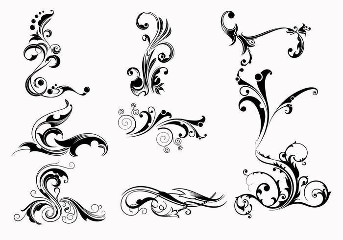 Neun Swirly Scroll Vectors