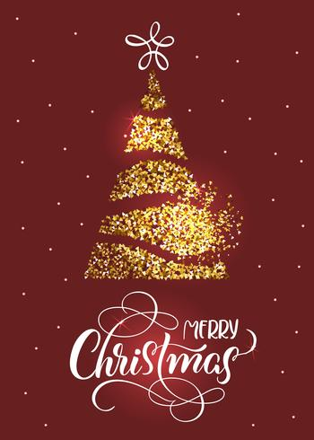 Text der frohen Weihnachten an auf rotem Feiertagshintergrund mit stilized Tannenbaum und Sternen vektor
