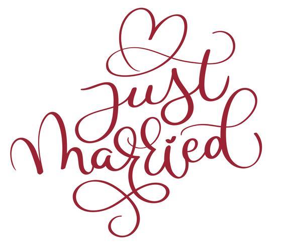 heiratete gerade roten text mit herzen auf weißem