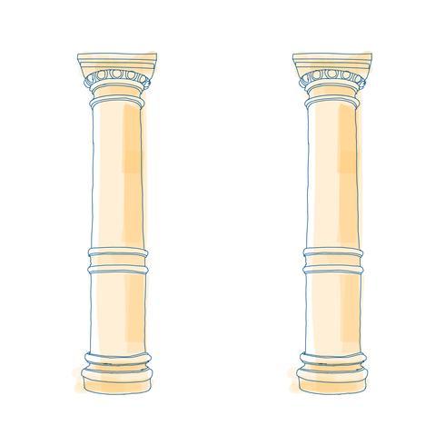 Stilisierte griechische Gekritzelsäule Dorische ionische korinthische Säulen. Vektor-Illustration Klassische architektonische Unterstützung vektor