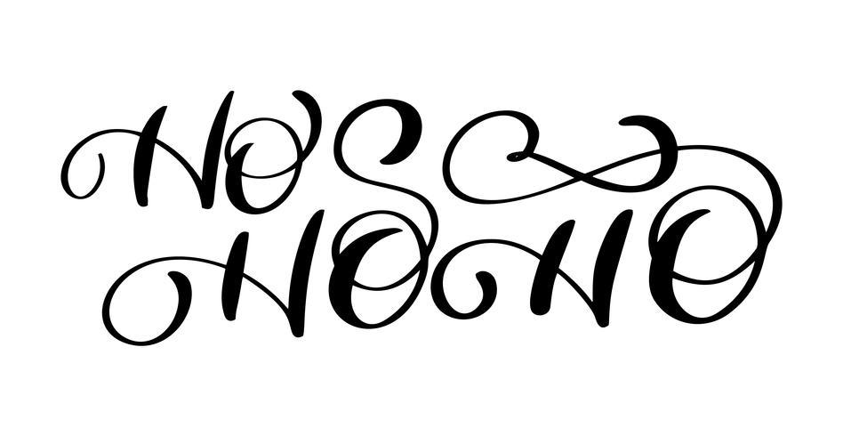 Ho-Ho-Ho Jul vektor hälsningskort med modern pensel bokstäver. Banner för vintersäsong hälsningar