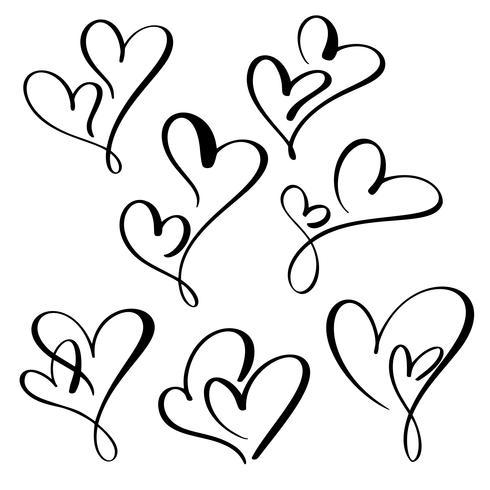 sätta två älskling hjärta. Handgjord vektor kalligrafi. Inredning för gratulationskort, mugg, fotoöverdrag, t-shirt, flygblad, affischdesign
