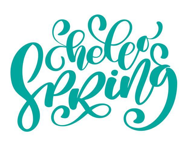 Vector Hand gezeichnetes hallo Frühlingstext motivierend und inspirierend Jahreszeitzitat. Kalligraphische Karte, Becher, Foto-Overlays, T-Shirt-Druck, Flyer, Plakatgestaltung