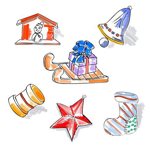 Jul retro skiss doodles element släde stjärna snögubbe gåva leksaker bell boot. Handritad vintage design vektor