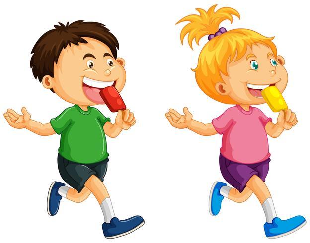 Junge und Mädchen, die Eis am Stiel essen vektor