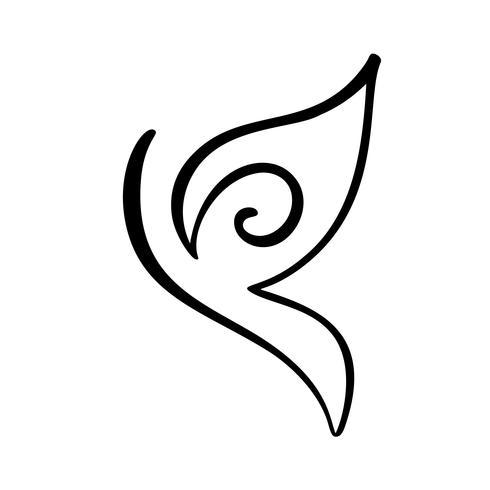 Handritad kalligrafi-logotyp av fjäril. Skönhet kosmetisk koncept. Ekologi vektor element. Illustration eco ikon design för bröllop och helgdag, hälsningskort