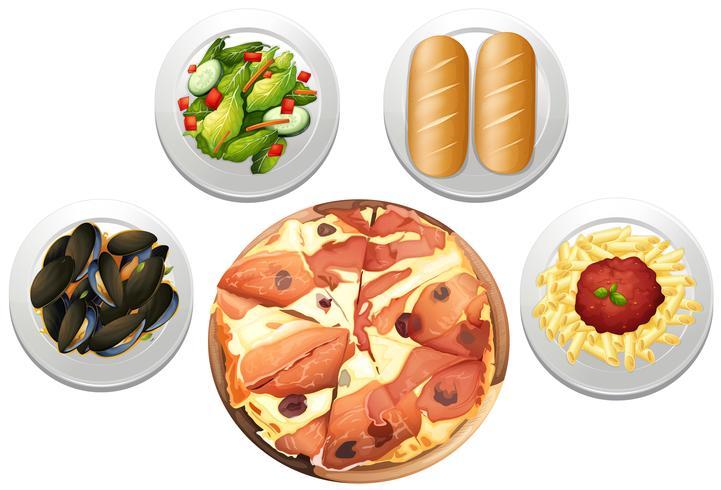 Ein italienisches Pizza-Set-Menü vektor