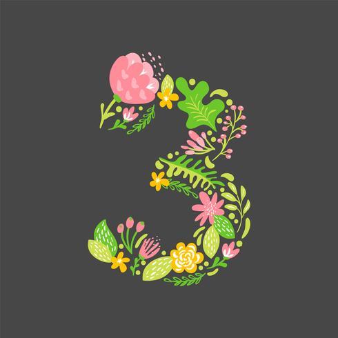 Blom sommar Nummer 3 tre. Flower Capital Wedding Alphabet. Färgrik teckensnitt med blommor och löv. Vektor illustration skandinavisk stil