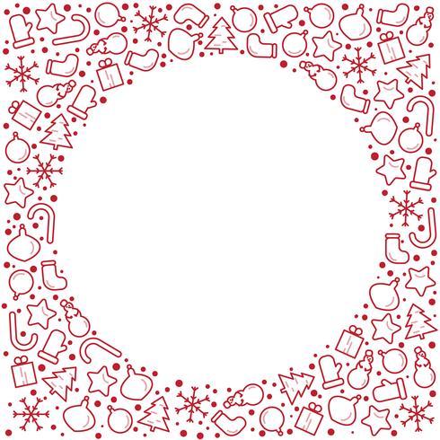 Fahnenabbildung des Weihnachtsneuen Jahres. Vector Linie Ikone des Winterurlaubbaums, Geschenk, Weihnachtsmann, Brief, Geschenke, Kranz. Feierparty-Kreisschablone mit Platz für Text