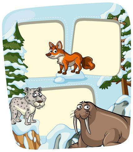 Gränsmall med djur på vintern vektor