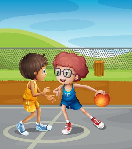 Två pojkar spelar basket på domstolen vektor
