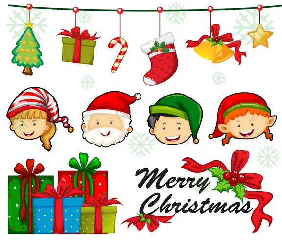 Julkortsmall med människor och ornament vektor