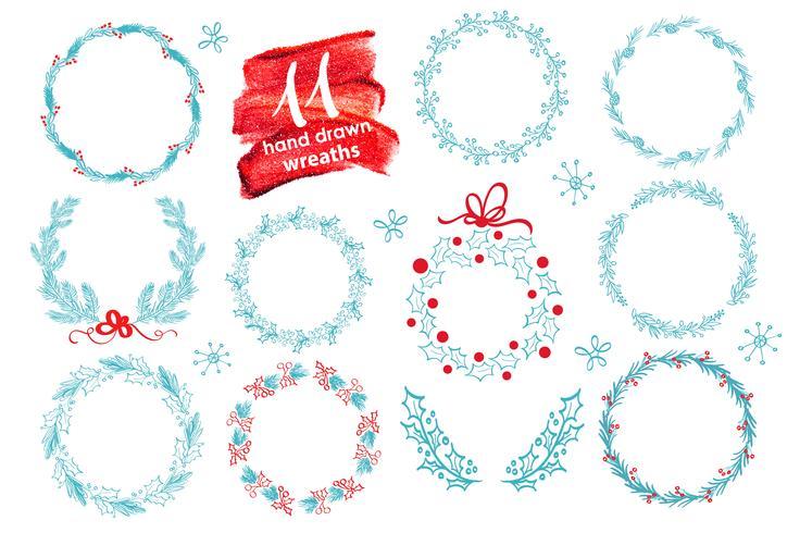 Hand gezeichneter Weihnachtskranz eingestellt mit dem Winter mit Blumen. Vektor-Illustration Season-Grußkarte Für Ihren Text, Schriftzug, Kalligraphie vektor