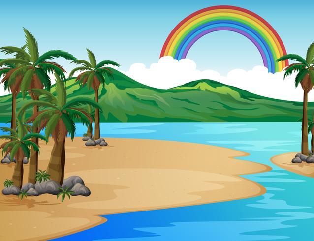 Eine wunderschöne tropische Inselszene vektor