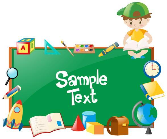 Border design med pojke och många skolobjekt vektor