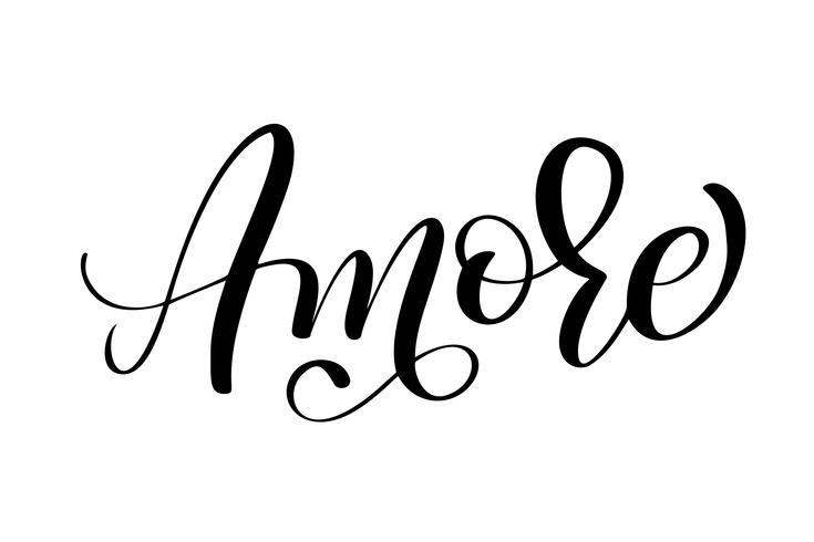 Italiano Amore Handritad Valentinsdag typografi bokstäver på den vita bakgrunden. Rolig penselbläck kalligrafi inskription för vinterhälsningsinbjudningskort eller tryckdesign vektor