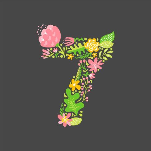 Blomstrande sommar nummer 7 sju. Flower Capital Wedding Alphabet. Färgrik teckensnitt med blommor och löv. Vektor illustration folk stil