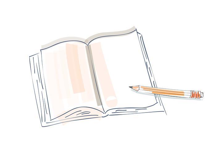 Notizbuchgekritzel, primitive Zeichnungshand. Stift- und Notizbuchpapier. moderner Minimalismus Skizzenkunst. Vektor-illustration vektor