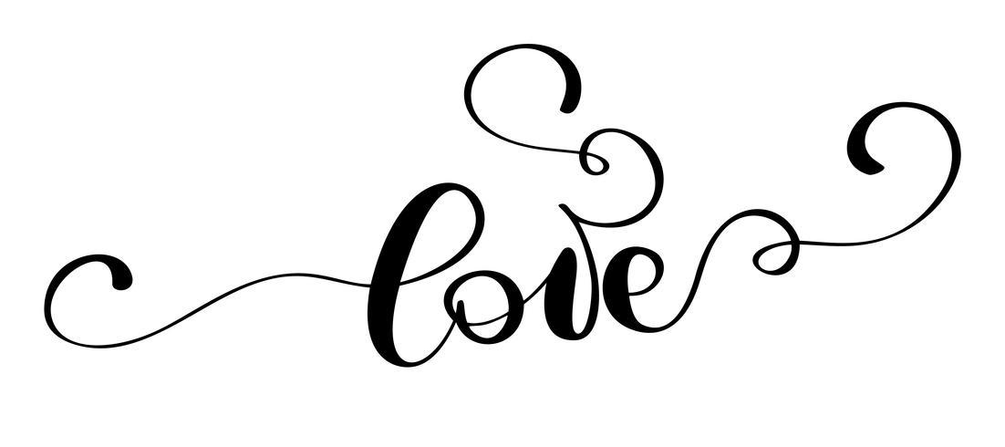 handskriven inskription KÄRLEK och hjärta Lycklig Alla hjärtans dag kort, romantiskt citat för design hälsningskort, tatuering, semesterinbjudningar vektor