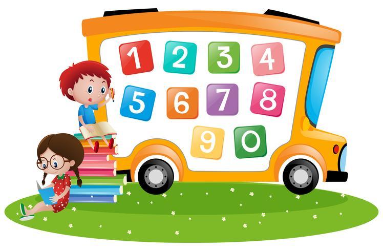 Pojke och tjej räkna siffror vektor