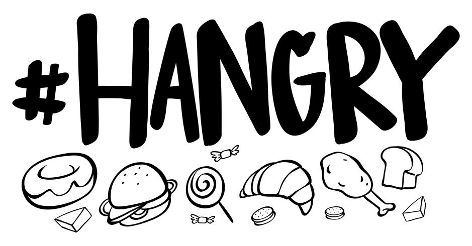 Wortausdruck für Hangry mit vielen Lebensmitteln vektor