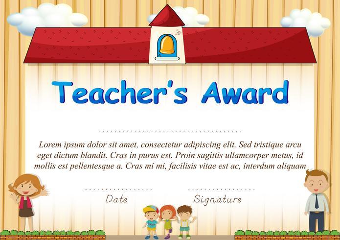 Certifikat med studenter och skolor i bakgrunden vektor
