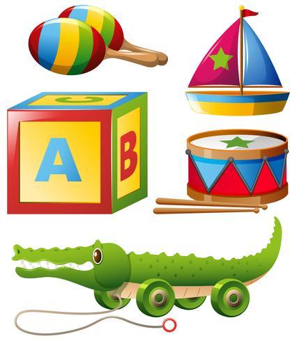 Olika typer av leksaker i set vektor