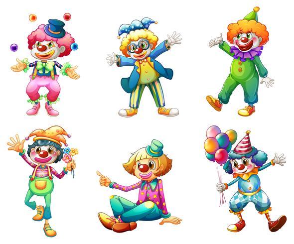 Sex olika clown kostymer vektor