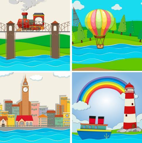 Fyra scener av stad och flod vektor
