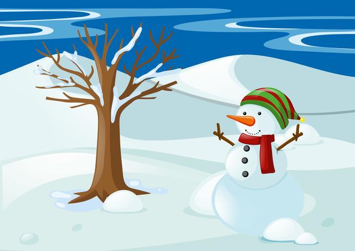Snögubbe med hatt och halsduk vektor
