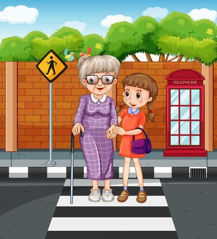 Tjej som hjälper farmor att korsa gatan vektor
