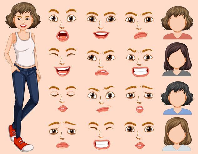 Ung kvinna med olika ansiktsuttryck vektor