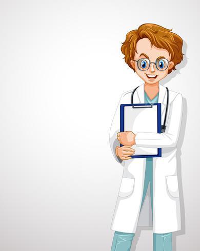 Professionell ung doktor vit mall vektor