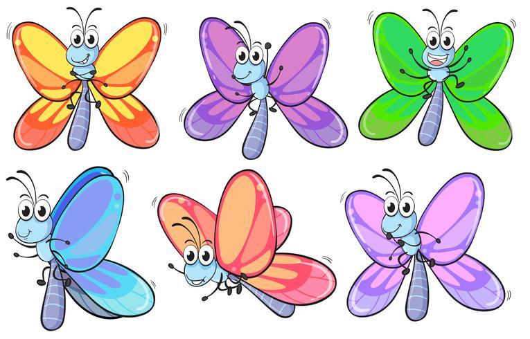 En grupp färgglada fjärilar vektor