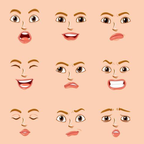 Gesichtsausdrücke für weiblichen Charakter vektor