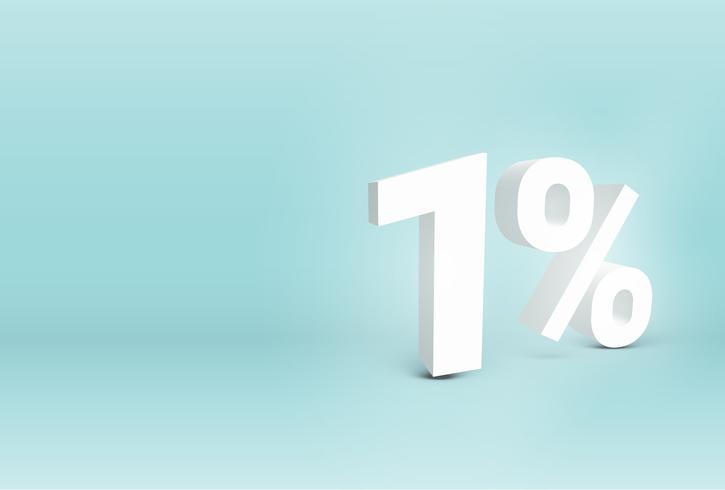 3D '1%' realistiskt tecken, vektor illustration