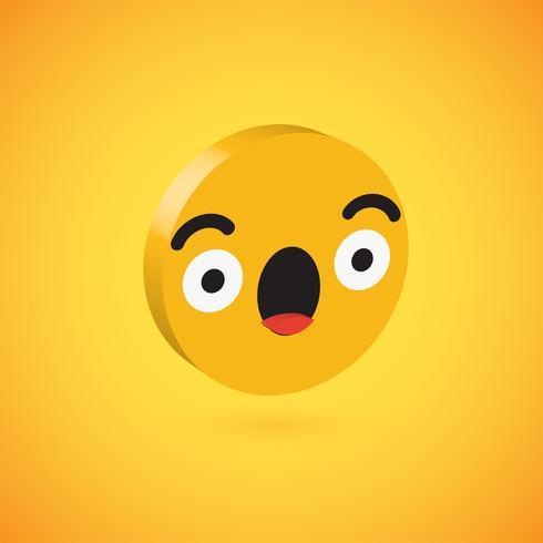 Gelber hoher ausführlicher 3D Emoticon 3D, Vektorillustration vektor