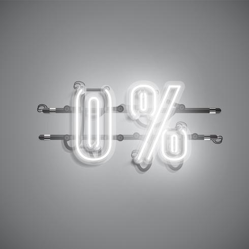 """""""0%"""" realistisches Neonzeichen, vektorabbildung vektor"""