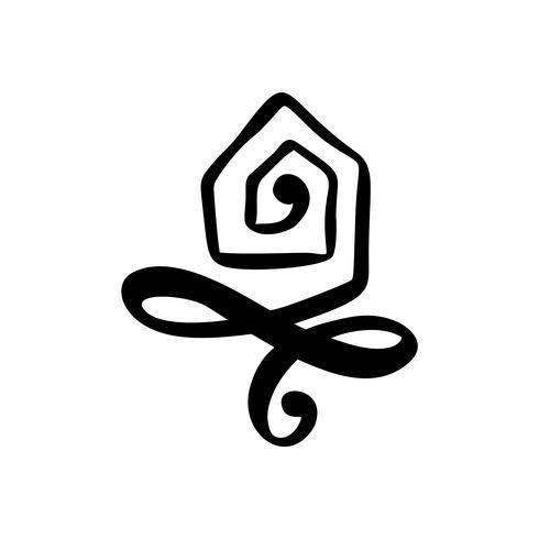 Einfache Kalligraphie-Haus-wirkliche Vektor-Ikone. Estate Architecture Construction für Design. Gezeichnetes Logoelement der Kunsthauptweinlese Hand vektor