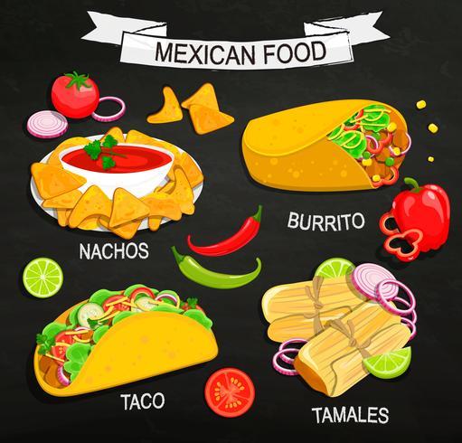 Konzept des mexikanischen Lebensmittelmenüs. vektor