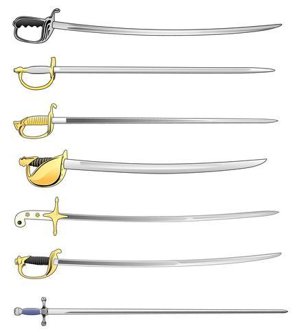 Militärt svärd Cutlass och Saber Set Vector Illustration