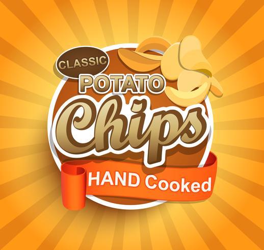 Potatis chips etikett. vektor