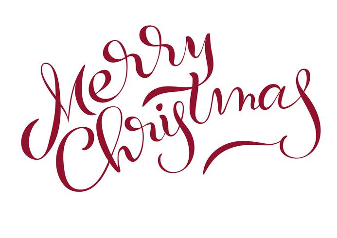 Text der frohen Weihnachten lokalisiert auf weißem Hintergrund. Kalligraphie-Schriftzug vektor