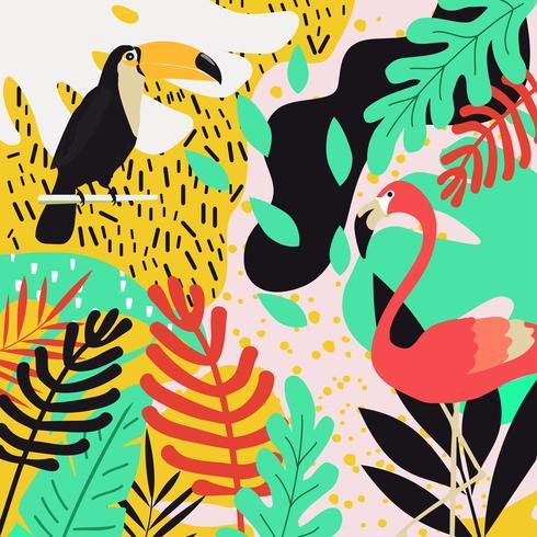 Tropischer Dschungel verlässt Hintergrund mit Flamingos und Tukanen vektor