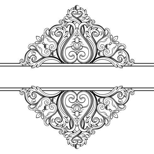 Ornamental vintageram. Vektor illustration i svartvita färger