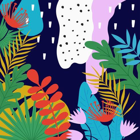 Tropiska djungelbladen och blommor bakgrunden vektor