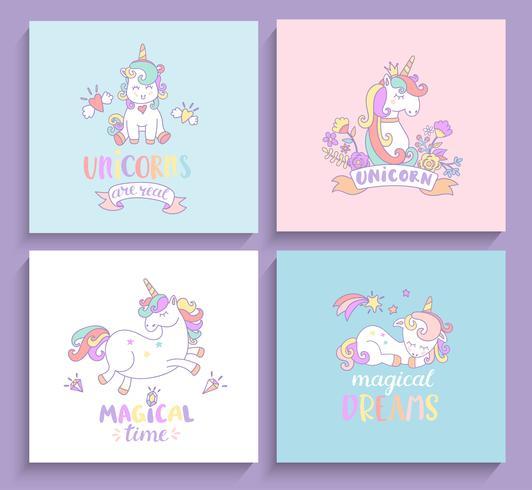Set med magiska unicorns hälsningskort. vektor