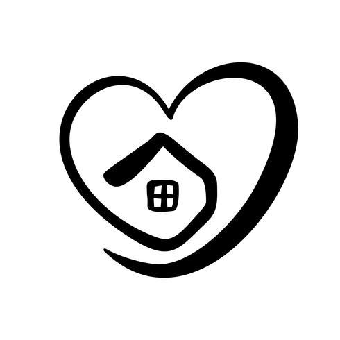 Einfaches Kalligraphie-Haus mit Herz. Echte Vektor-Symbol. Behaglichkeit und Schutz. Architekturaufbau für Design. Gezeichnetes Logoelement der Kunsthauptweinlese Hand vektor