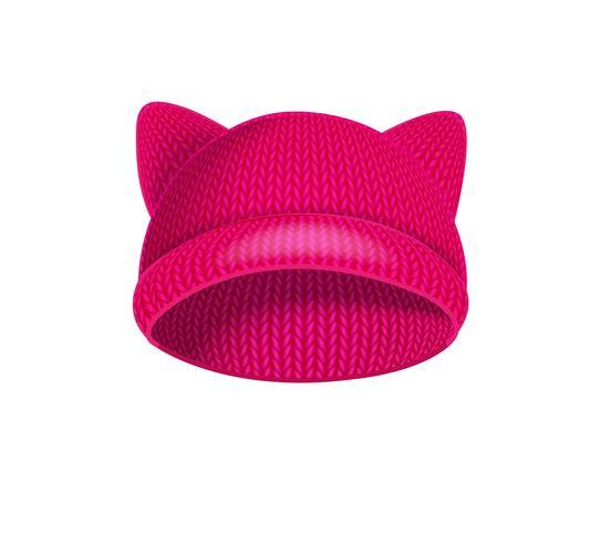 Rosa stickad hatt med kattöron. vektor